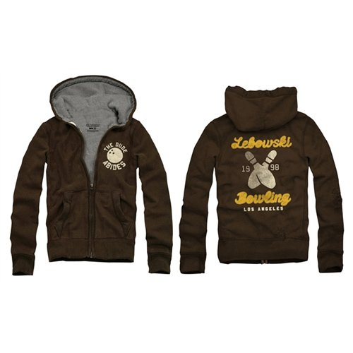 Big Lebowski Bowling Men's Zip Hoodie, Brown, Small