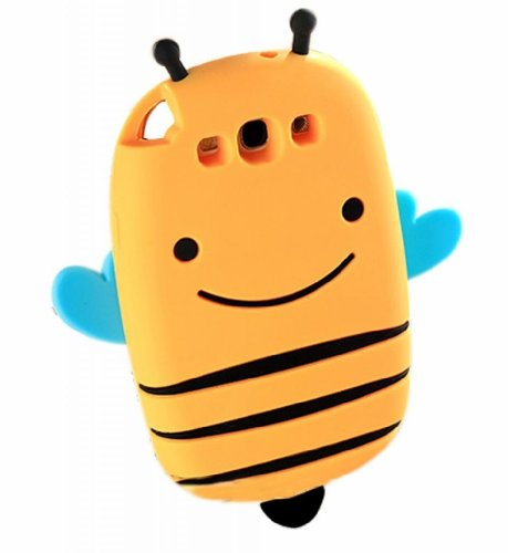 Fjx 3D Unique Smile Bee Silicone Case Cover Compatible For Samsung Galaxy S3 I9300 Yellow back-117808