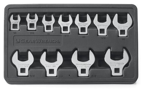 GEARWRENCH 81908 11 Piece SAE Crowfoot Wrench Set (Color: Silver)