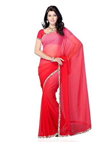 Diva Fashion-Surat Women's Georgette Saree With Thin Colorful Lace Border (multicolor)