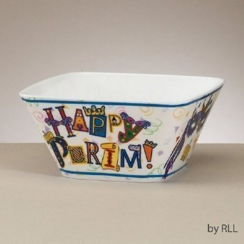 """Happy Purim"" Melamine Bowl, 6"" Square"