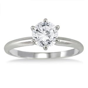 IGI Certified 1 Carat Diamond Solitaire Ring in 14K White Gold