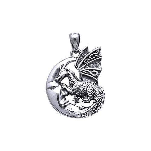 ".925 Sterling Silver Crescent Moon Celtic Irish Religious Spiritual Symbol Viking Mythology Mystical Dragon Tottem Animal Medal Pendant Necklace Comes With A Beautiful 20"" Silver Plated Snake Chain"