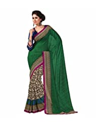 Green BLue Art Bhagalpur Silk Saree With Unstitched Blouse 109 B By Roop Kashish