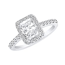 buy Cubic Zirconia Engagement Ring Emerald Cut - 9