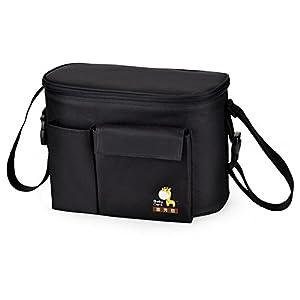 eonkoo Baby Diaper Tote Bag Waterproof Insulation Stroller Mummy Shopping Handbag with Bottle Pockets Shoulder Bag (black) by eonkoo
