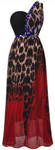 Angel-fashions Women's One Shoulder Leopard Print Rhinestone Maxi Evening Dress Medium Red