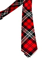 Red Plaid Neck Tie Gothic Punk Deathrock Rockabilly 80s 50s