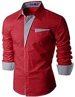 Doublju Mens Casual Pin stripe Patched Pocket Slim Dress Shirts (DS41)
