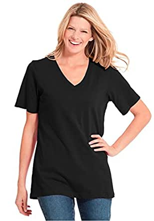 Women's Plus Size Perfect V-Neck Tee Black,M