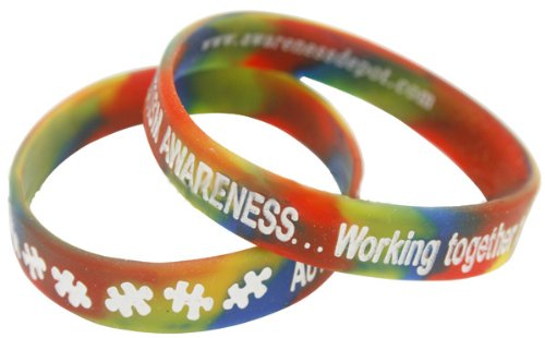 Autism Awareness Rainbow Bracelets Adult Size (Fundraiser 10 Pack)