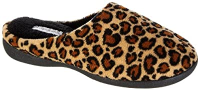 Dearfoams Womens Micro Terry Clog Slippers LEOPARD BROWN X-Large