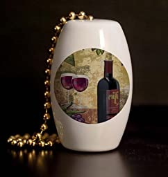 Red Wine and Grapes Porcelain Fan / Light Pull