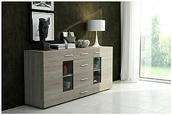 Juego de modernos muebles de salón GERARDO - con luces LED opcional (Aparador - color roble, sin LED)