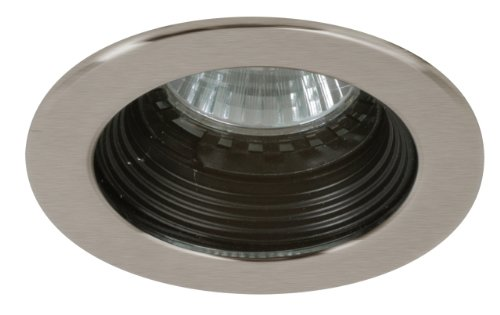 Eurofase R037-S5 1-Light Halogen Mini-Pot Stepped Baffle, Satin Nickel