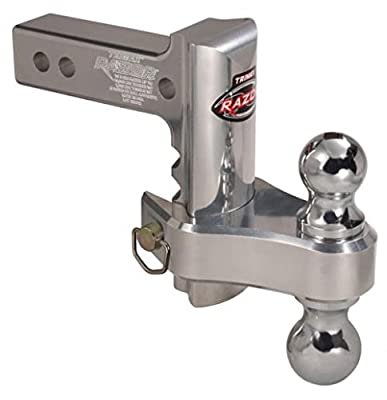 "Trimax TRZ6ALRP 6"" Aluminum Adjustable Hitch with Dual Hitch Ball and Receiver Adjustment Pin"