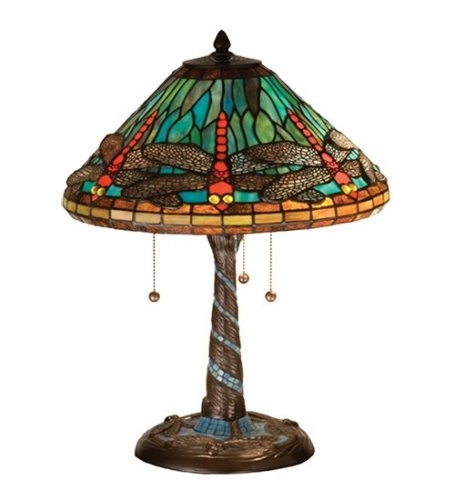 "Tiffany 21"" H Dragonfly With Twisted Fly Mosaic Base Table Lamp Shade Color: Ocean Blue"