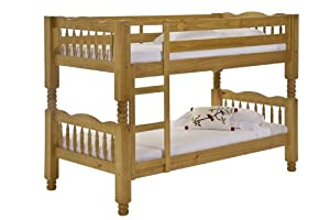 Verona Design Pine Wood Trieste Bunk Bed with Laquered, 206 x 145 x 101 cm, 1-Piece, Antique Pine