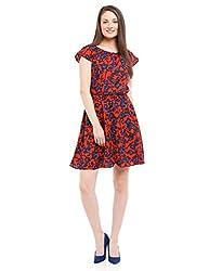 Prym Women's Printed Smocked Waist Dress (1011507802_Orange Mix_Large)