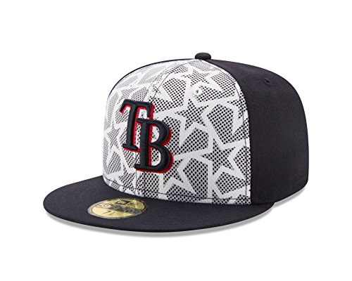 MLB Tampa Bay Rays Men's 2016 Stars & Stripes 59Fifty Fitted Cap, Size 8, Navy