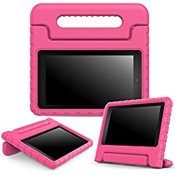 MoKo Case for Fire 7 2015 - Kids Shock Proof Convertible Handle Light Weight Super Protective Stand Cover for Amazon Fire Tablet (7 inch Display - 5th Generation, 2015 Release Only), MAGENTA