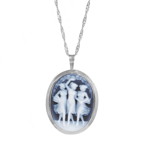 Sterling Silver Italian Blue Agate Three Lady's Cameo Pin-Pendant Necklace, 18