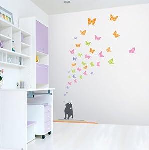 Wall Point Sticker: KRHS-PS-58090 - Kitten & Butterflies