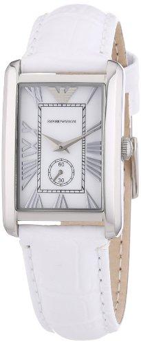 Emporio Armani AR1672 - Reloj para mujeres, correa de cuero color blanco