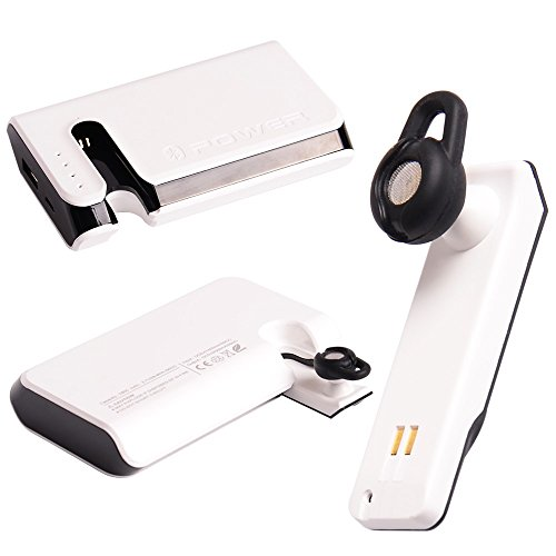 Jingxiguoji™ Novelty 7800Mah 2 In 1 Power Bank And Bluetooth 3.0 Integrated Design Headset For Iphone Samsung Ipad Htc (White)