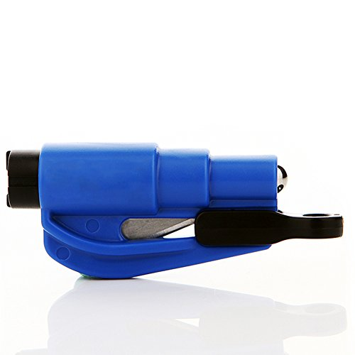 Fund 2 in 1 Car Rescue Escape Tool Keychain Window Glass Breaker and Seat Belt Cutter Emergency Hammer (Blue) (Seatbelt Cutter Key compare prices)