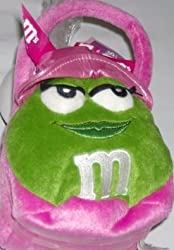 M&M Stuffed Tote Green M&M's Figure on Plush Pink Basket