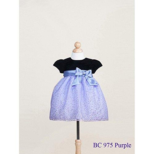 Crayon Kids Baby Girls Purple Sparkling Organza Christmas Dress 24M front-692714