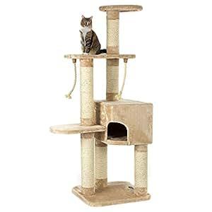 Happypet® CAT019 Kratzbaum Katzenbaum mittelhoch 1,40 m hoch Beige