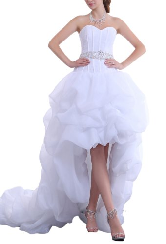 Crystal dresses women s a line strapless beading waist hi for Hi lo hemline wedding dresses