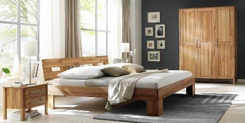 8-8-7-2151: schönes Schlafzimmerprogramm AAS – Kernbuche vollmassiv geölt – Kleiderschrank 3-trg., Doppelbett 180x200cm LF, 2 Nachtkonsolen