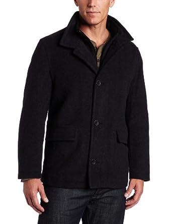 Nautica Men's Cashmere Bib Detail Coat, Charcoal, Small