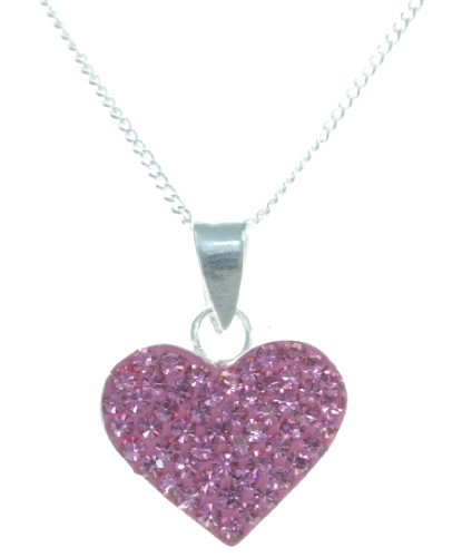 Elegant 925 Sterling Silver Women Necklace with Crystal - 18.1 inch