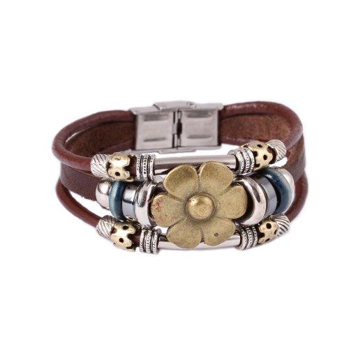 FASHION-PLAZA-Sunflower-Vintage-Style-Exotic-Leather-Bracelet-19mm-L30