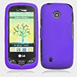 Cell Phone Rubber Purple Protective Case Faceplate Cover For LG Cosmos Touch VN270