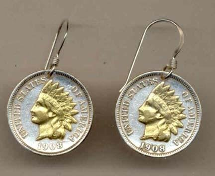 Indian Head Penny Two Tone Coin Earrings