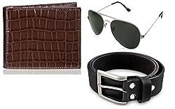 Rico Sordi leather wallet with sunglass & Belt(design-6) (Black) - RSM_38_40_WSGB