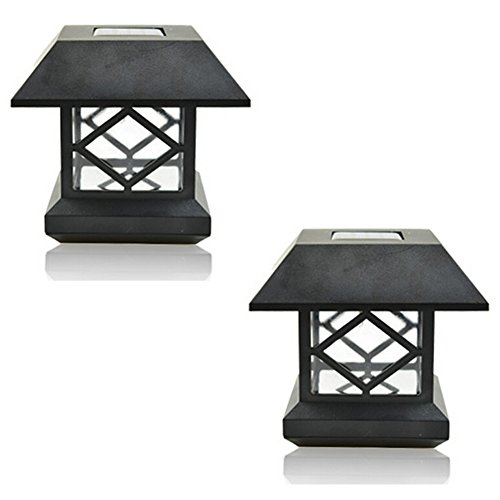 DE-Spark 2 Pack Solar Lantern Pillar / Column / Pedestal Light LED Solar Garden Landscape Street Night Lights (White Light) (Outdoor Pedestal Lights compare prices)