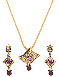 Voylla Time-Honored CZ Embellished Yellow Gold Toned Pendant Set With Chain