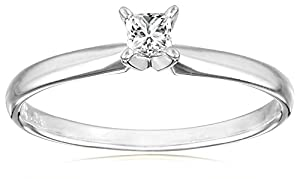 IGI Certified 18k White Gold Classic Princess-Cut Diamond Engagement Ring (1/4 cttw, H-I Color, SI1-SI2 Clarity), Size 5