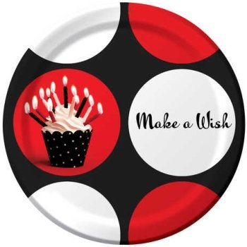 Creative Converting Cupcake Blowout Dots, Make A Wish Round Dessert Plates, 8-Count - 1