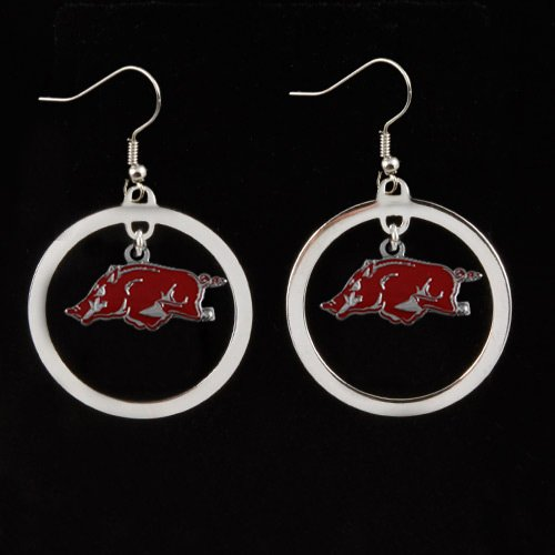 NCAA Arkansas Razorbacks Floating Logo Hoop Earrings at Amazon.com