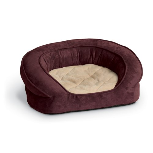 K&H Deluxe 30-Inch Round Ortho Bolster Sleeper, Medium, Eggplant Paw Print front-762160