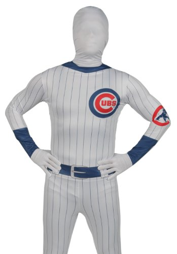 [Paper Magic Men's Chicago Cubs Skin Suit, Blue/Red, One Size] (Cubs Fan Costume)