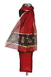 Maroon & Black Handwoven Chanderi Cotton Silk Suit Fabric with elaborate work