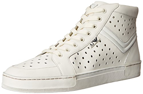 Armani Jeans Men's Perforated Leather Hightop Fashion Sneaker, White, 43 EU/9.5 M US